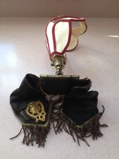 Antique Victorian Wall Light Sconce Unusual Fitting Brass Beaded Vintage Cloth