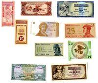 10 billetes mundiales sin circular