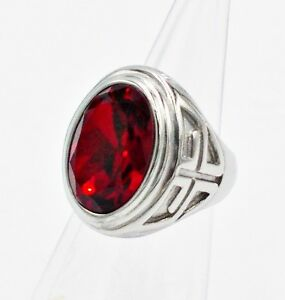 MEN RING RED RUBY STAINLESS STEEL SILVER CROSS CHRISTIAN BIKER HUGE STONE SIZE 9