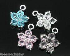 12 Mixed Silver Plated Rhinestone Flower Charm Pendants
