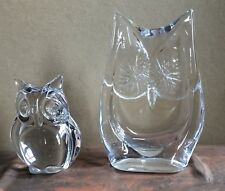 Vintage Pristine Collectible Pair Crystal Clear Owls by Daum, France SIGNED