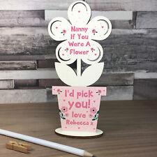 Personalised Gift For Nan Handmade Wood Flower Nanny Birthday Christmas Thankyou
