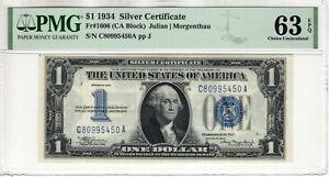 1934 $1 SILVER CERTIFICATE NOTE FR.1606 CA BLOCK PMG CHOICE UNC 63 EPQ (450A)
