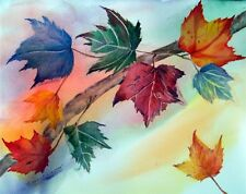 """'Windy Autumn""""Original Watercolor,Cool Leaves,Fall Season,poured painting"""