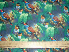 Cotton Fabric Wild Wings TUCANS & PARROTS Jungle   BTY