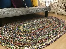 Large  Second Nature Online Oval Braided Rug Blue Multicolour Rug