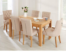 Florence Button Back Dining Chair Cream Linen with Oak Legs Upholstered Chair