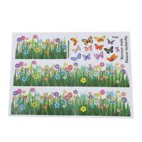 Herbe fleur papillon motif amovible autocollant sticker mural Art DIY Decor Q6E5