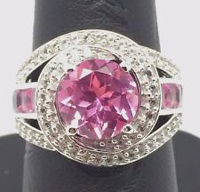 Sterling 925 Round - Princess Cut Pink Sapphire CZ Loop Swirl Halo Cocktail Ring