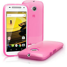 iGadgitz Transparent Pink Glossy TPU GEL Skin Case Cover for Motorola Moto E