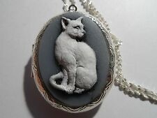 CAMEO, HAND PAINTED WHITE CAT LOCKET