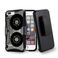 For iPhone 8 Plus,7 Plus Hybrid Shell Clip Hard Case Cassette Tape