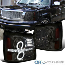 For Cadillac 02-06 Escalade LED Halo Projector Headlights Lamps Smoke Left+Right