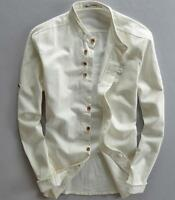 Chinese Style Mens Cotton Linen Long Sleeve Shirt Slim Business Casual Tops H511