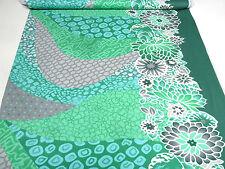 Stoff Jersey Blumen Punkte Borden Druck grün grau dunkelgrün weiß Kleiderstoff