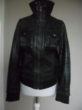 Sienna de luca genuine leather bomber jacket size M (10-12) dark green zipped