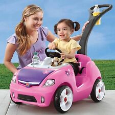 Pink Ride-On Pretend Play Car Mobile Children Toddlers Outdoor Toys Quiet Wheels