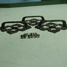 BRASS PULL HANDLES WITH BACK PLATES (lot of 3) OLD VINTAGE used