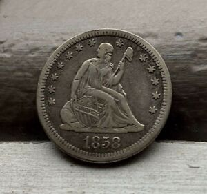 1858-O ~ Seated Liberty 25c ~ CH XF ~ Very RARE Key Date ~ Low 520k Mintage!