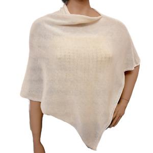 poncho donna 100% cotone colore naturale artigianale
