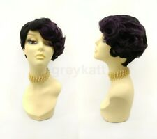 Black & Purple Short Heat Resistant Finger Waves Wig 1920s Gatsby Flapper Retro