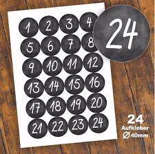 24 Aufkleber 1-24 Advent Adventskalender Zahlen Weihnachten Fest Sticker #3 DIY