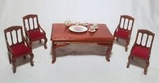 Dollhouse Furniture Dining Room Set Table 4 Chairs and China Set
