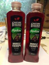 2 x Radox Men Muscle Therapy Bath Soak 500ml Each Black Pepper & Ginseng Bubble