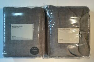 2 WEST ELM Worn Velvet Curtains 48 x 84 Drapes Gray Metal New