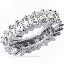 4.81 ct Emerald Cut Eternity Band Diamond Ring 24 x .20 ct F VS1 18k Gold Size 7