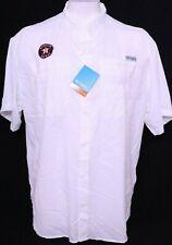 NEW Houston Astros MLB White Columbia PFG Button Up Tamiami SS Shirt Men's XXL