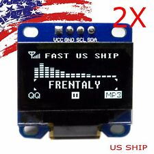 "2X US 0.96"" I2C IIC Serial 128X64 LED OLED LCD  Display Module for Arduino White"
