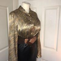 "Shiny Satin Vintage Blouse Size 16 44"" Chest Secretary Mistress CD TV C208"