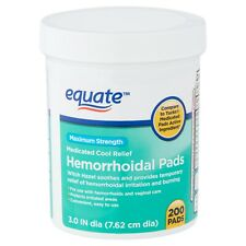 Equate Maximum Strength Medicated Cool Relief Hemorrhoidal Pads, 200 count