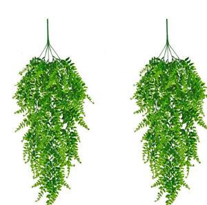 Artificial Hanging Boston Fern Plants Fake Hanging Greenery Plant (Pack of 2)