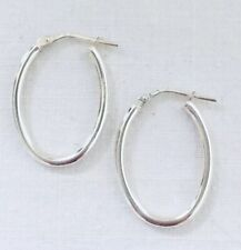 OLD STOCK Sterling Silver Hinged Oval Creole Plain Hoop Earrings Hollow 1.6g