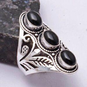 Black Onyx Ethnic Handmade Ring Jewelry US Size-8.5 AR 40622
