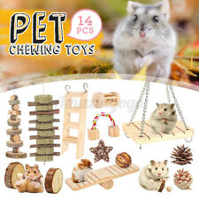 14Pcs Natural Wooden Rabbit Hamster Chew Bite Hammock Toys Small Pet Guinea Pig