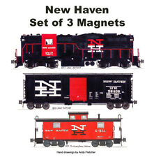 New Haven GP9, 40' Box Car & Caboose set of 3 magnets Andy Fletcher