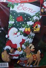 "Bucilla ""SANTA'S FRIENDS"" Felt Christmas Stocking Kit OOP~84586~Animals Puppy"
