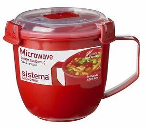 SISTEMA MICROWAVE SOUP MUG - LARGE - 900ML - RED/CLEAR