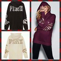 Victoria's Secret Hoodie Sweatshirt Oversized Campus PINK Sequins BLING S M NEW!