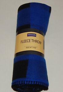 "Fleece Throw Blanket 50"" X 60"" Buffalo Check Blue/Black Plaid"