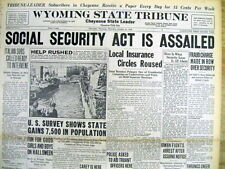 1936 headline display newspaper SOCIAL SECURITY ACT called a FRAUD by OPPONENTS