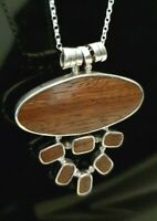 Ladies 925 Sterling Silver Large Wood Horizontal Oval Drop Pendant Necklace