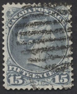 Canada #30 15c Large Queen, Blue Grey Shade, VF Centering, Grid