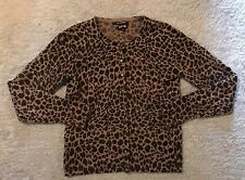 APT. 9 Brown Tan leopard Animal print 100% CASHMERE cardigan sweater M Medium