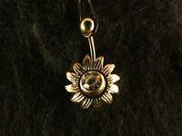 Bauchnabel Piercing Blume 24 Karat Vergoldet Gold Weiß Sonnenblume Blüte Sun