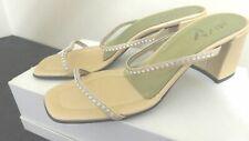 """UNISA FIESTA SHOES 3"""" HEELS WOMEN'S FOOTWEAR GOLD w/RHINESTONES SIZE 8 B"""