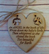 AN ANGEL IN THE BOOK OF LIFE  , Memorial, Heart ,Laser Etched Plaque Sign